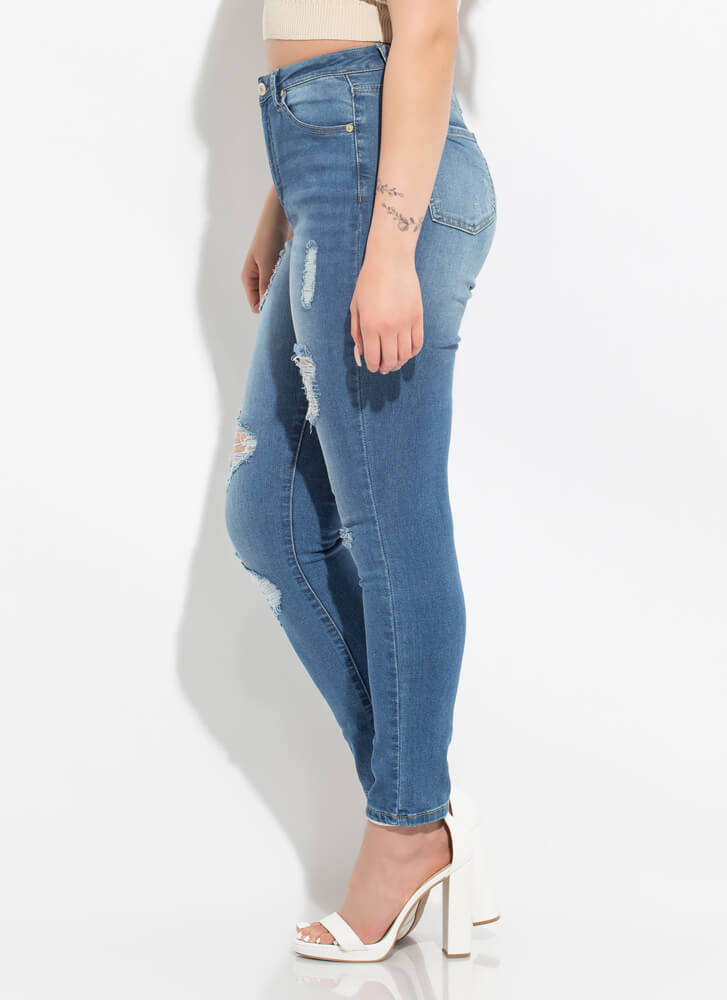 The Everyday Distressed Skinny Jeans MEDBLUE
