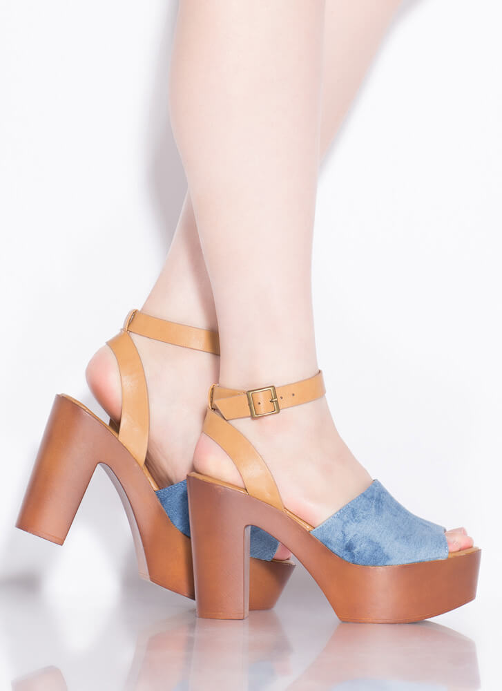 Retro Cool Chunky Denim Platform Heels BLUE