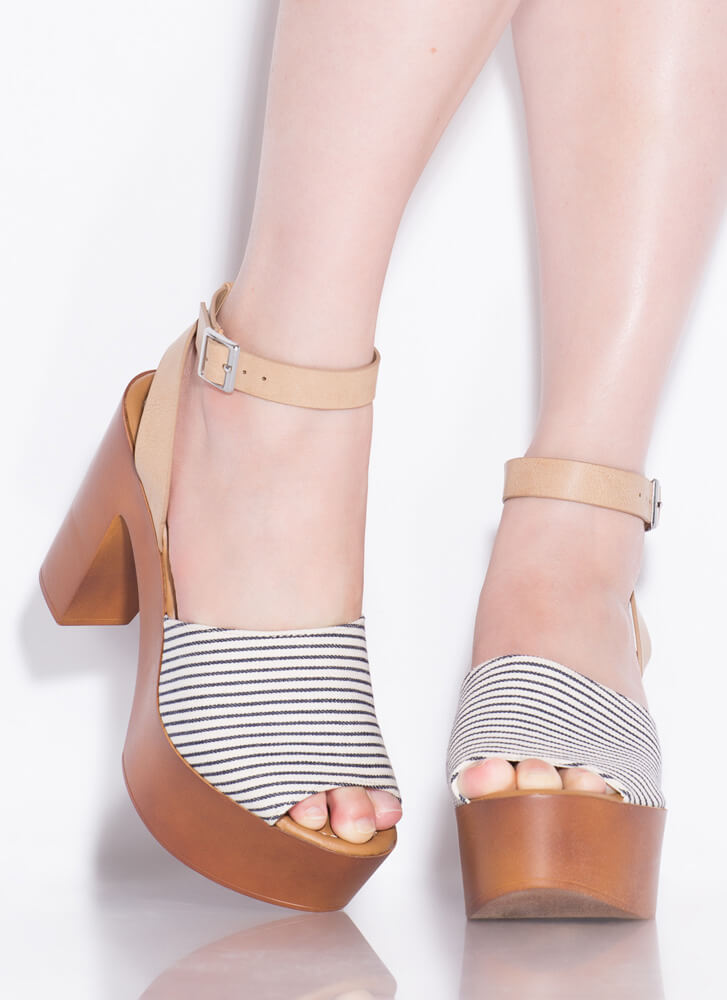 Retro Cool Chunky Striped Platform Heels NAVY