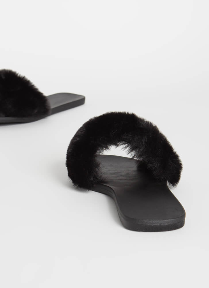 Fur-Ever Yours Faux Fur Slide Sandals BLACK