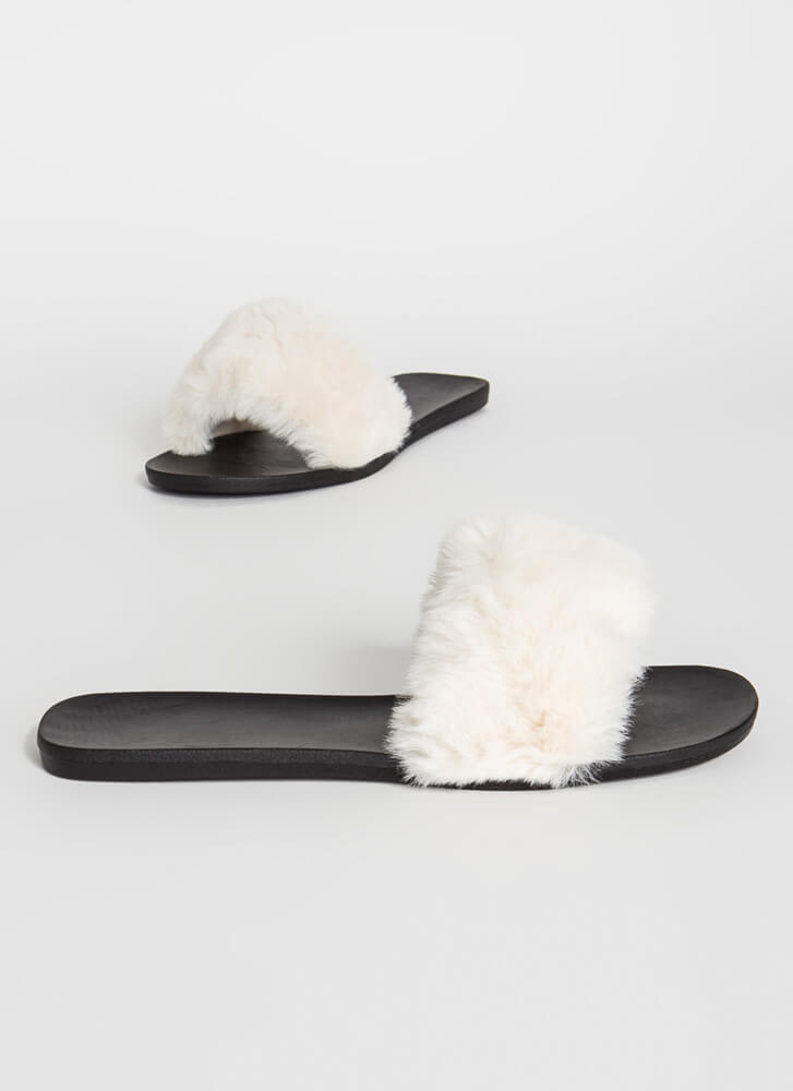 Fur-Ever Yours Faux Fur Slide Sandals WHITE