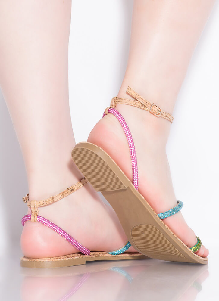 Get Sparkly Jeweled Strap Cork Sandals NATURAL