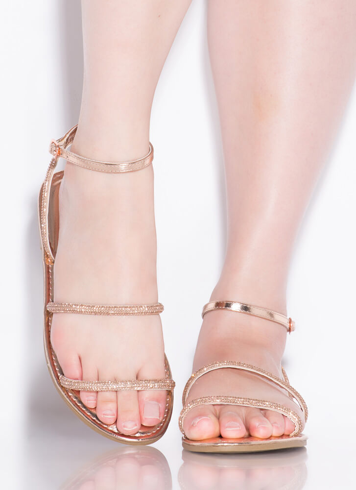 Get Sparkly Shiny Jeweled Strap Sandals ROSEGOLD