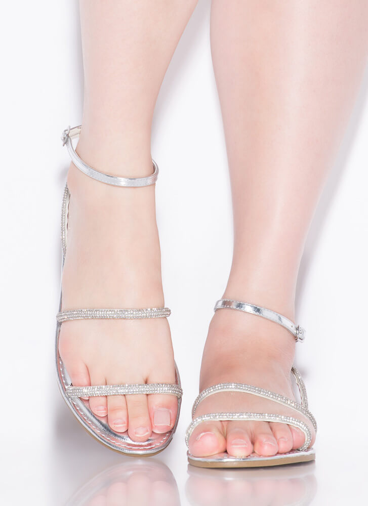 Get Sparkly Shiny Jeweled Strap Sandals SILVER