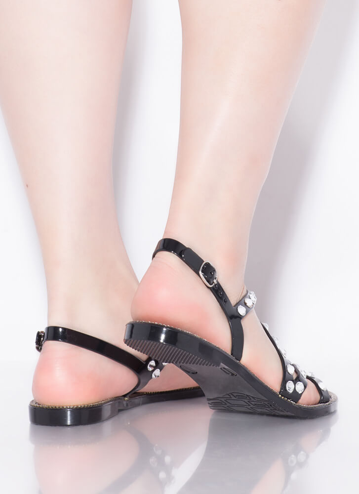 Crystal Ball Jeweled Jelly Sandals BLACK