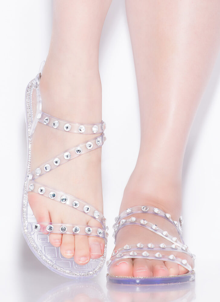 Crystal Ball Jeweled Jelly Sandals CLEAR
