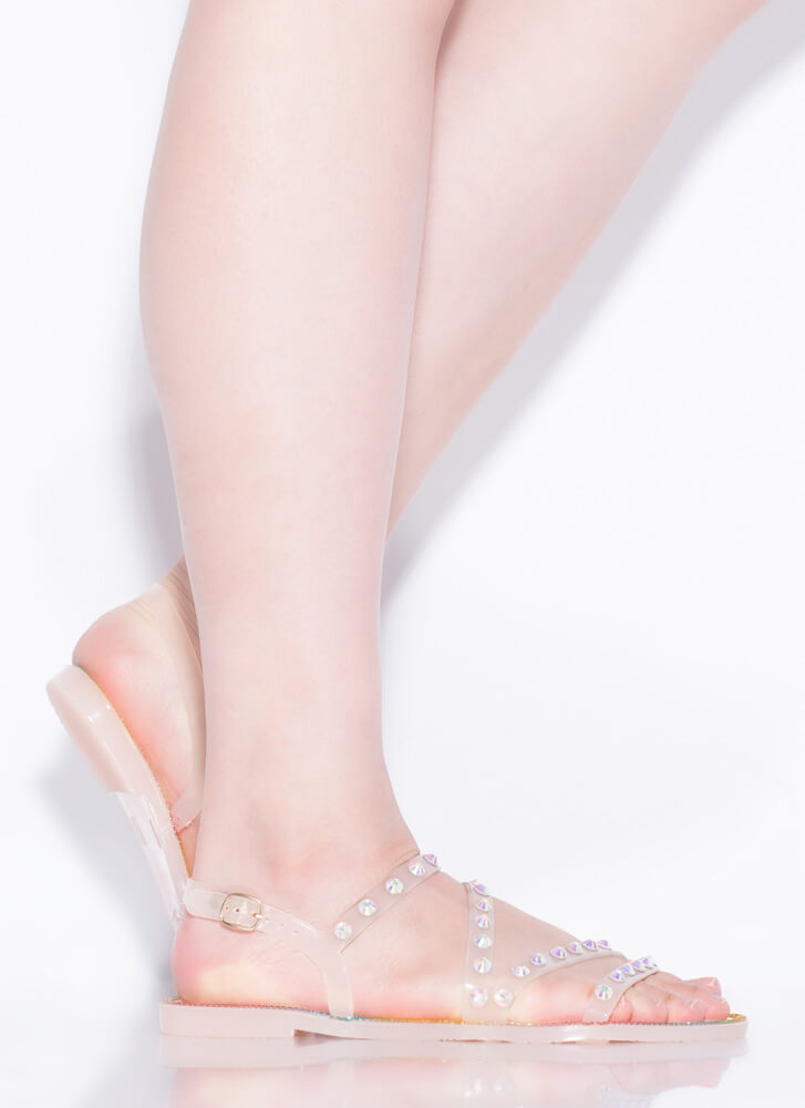 Crystal Ball Jeweled Jelly Sandals NUDE