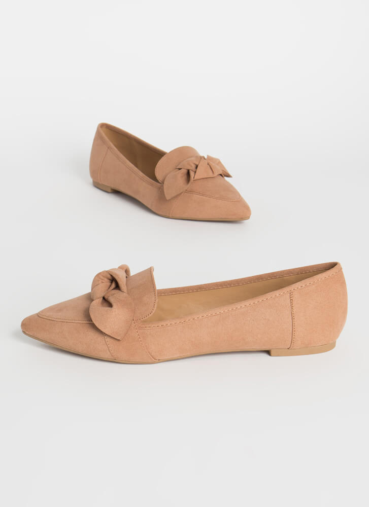 My New Bow Pointy Smoking Flats CAMEL