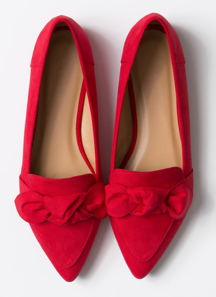 My New Bow Pointy Smoking Flats RED