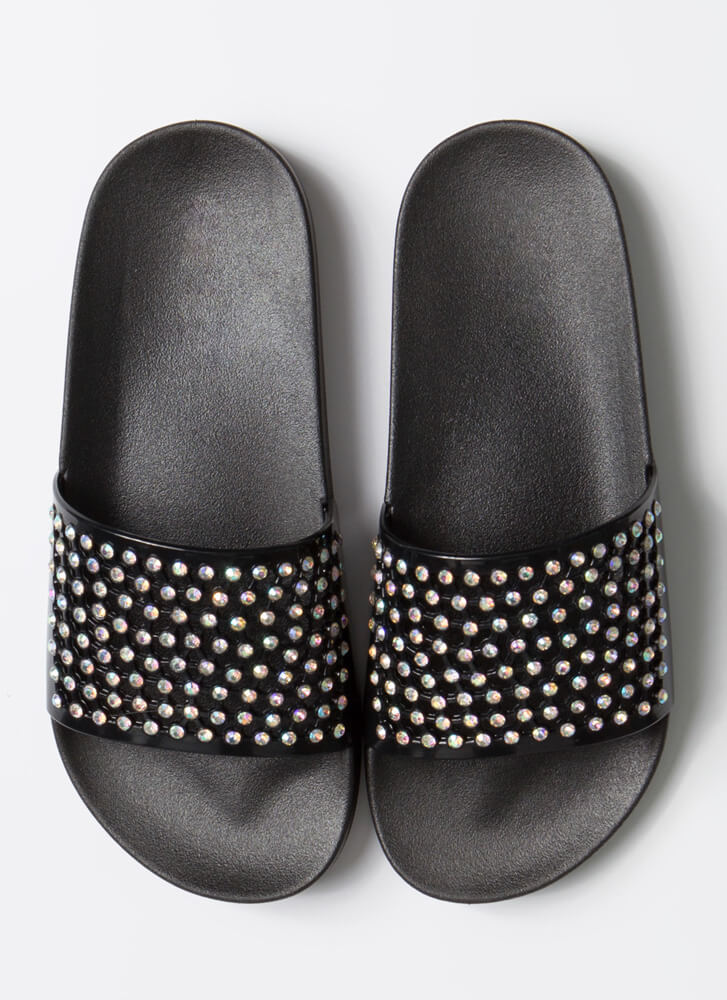 Caught In My Net Jeweled Slide Sandals BLACK