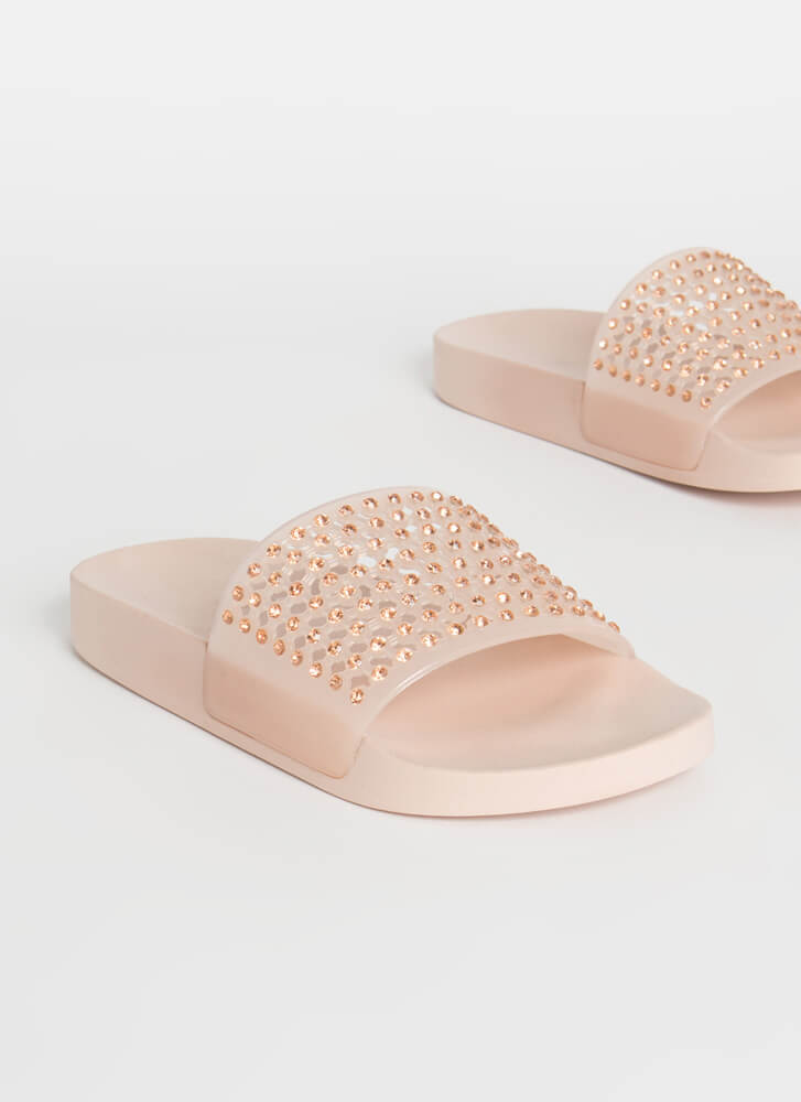 Caught In My Net Jeweled Slide Sandals NUDE
