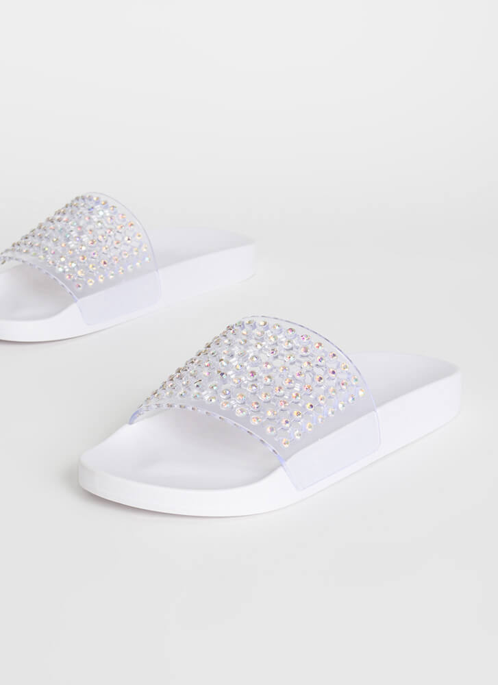 Caught In My Net Jeweled Slide Sandals WHITE