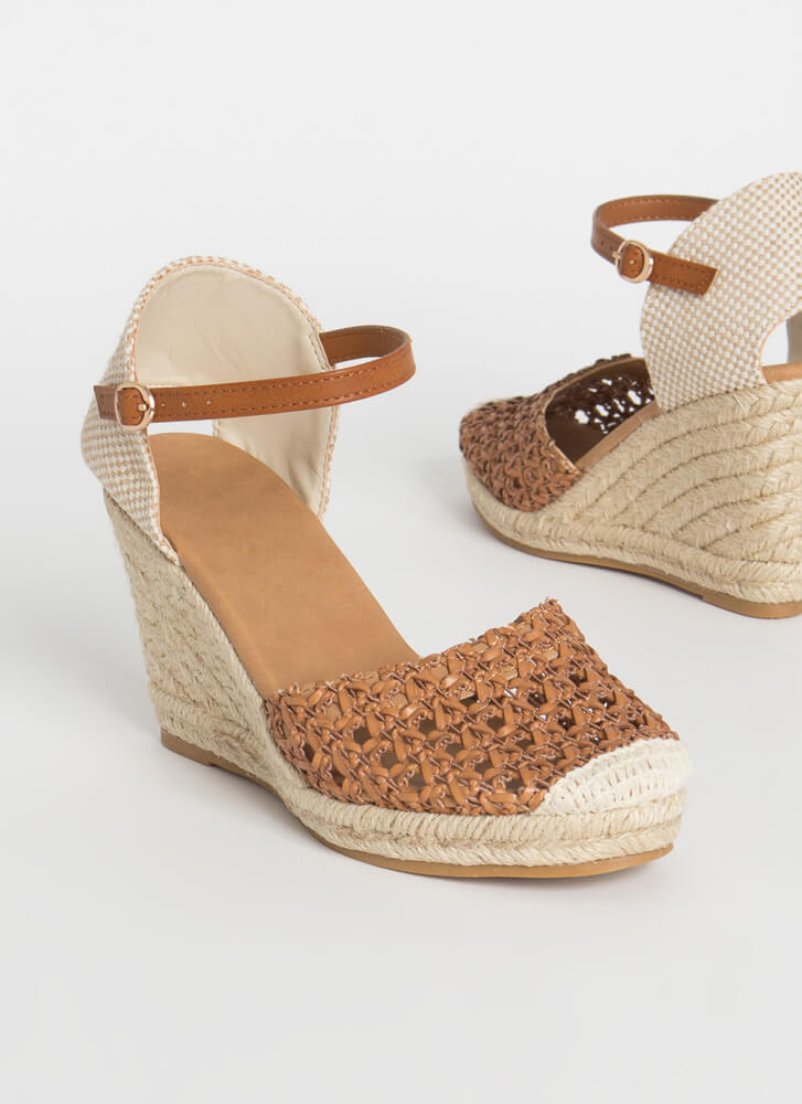 Natural Texture Woven Espadrille Wedges TAN