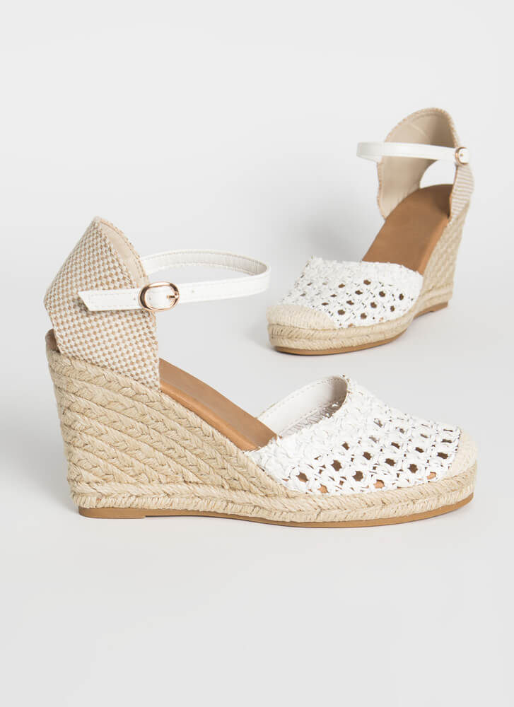 Natural Texture Woven Espadrille Wedges WHITE
