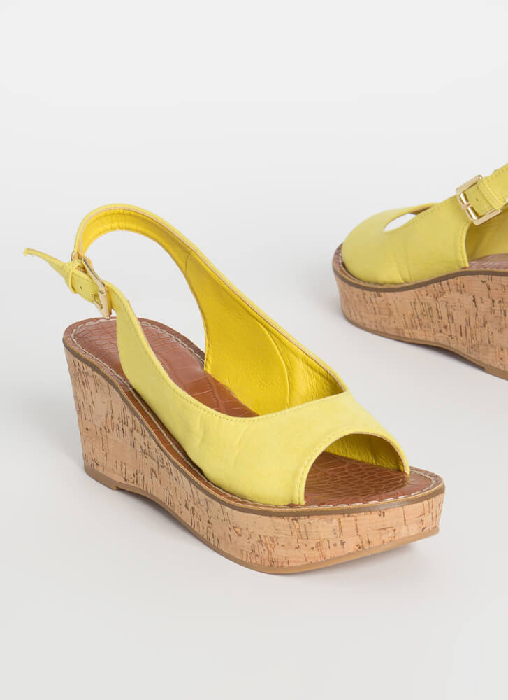 Park Place Slingback Platform Wedges YELLOW