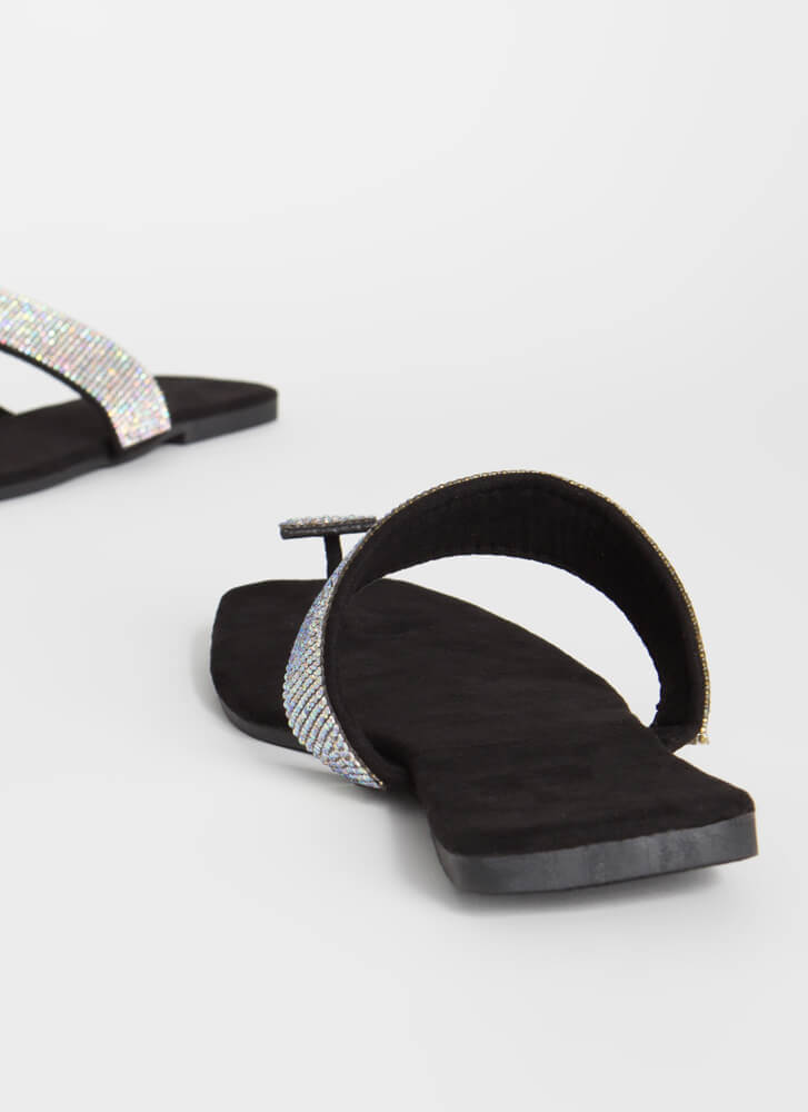 Square Off Jeweled Thong Sandals BLACK