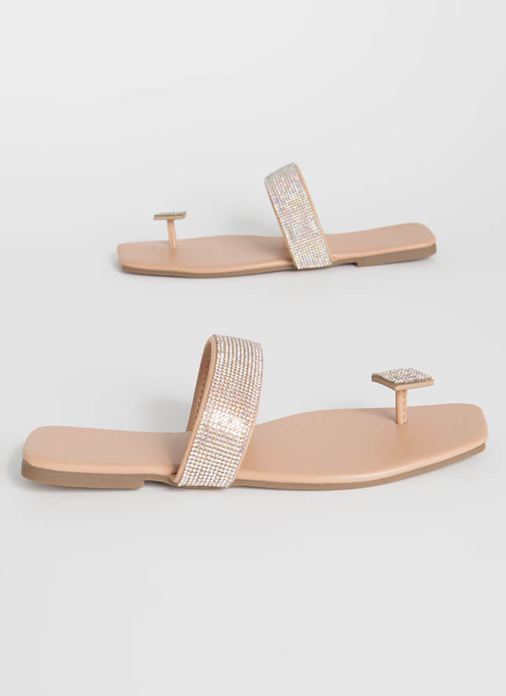 Square Off Jeweled Thong Sandals NUDE
