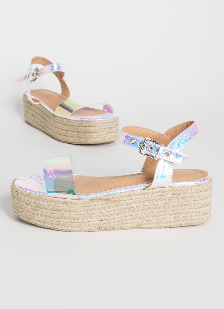 Flashy Braided Holographic Wedge Sandals PINK