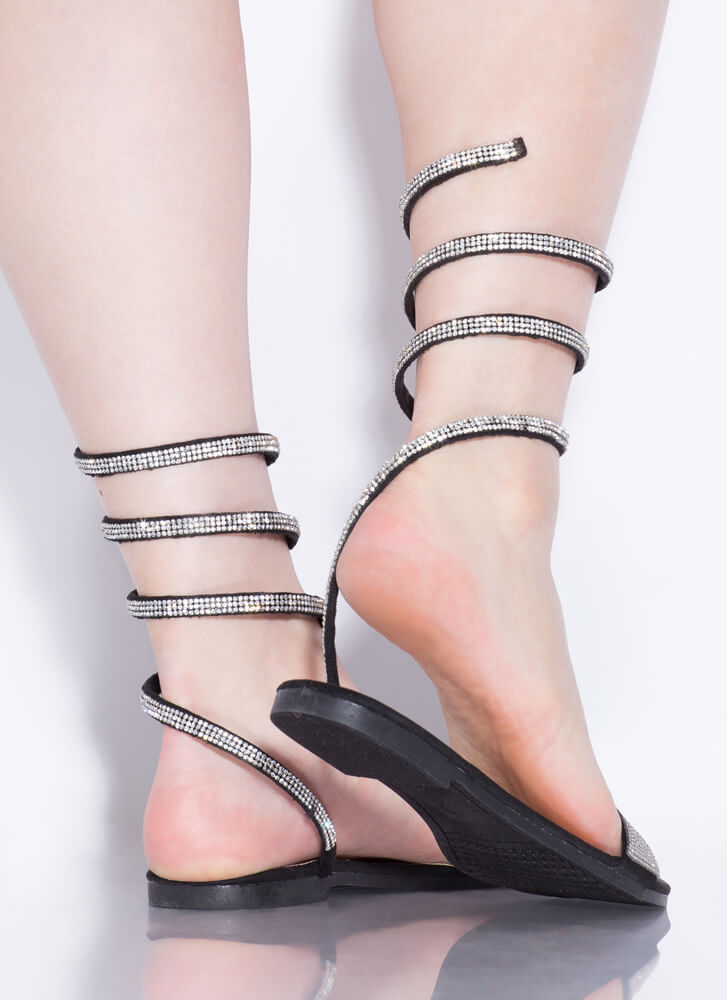 Slither Coiled Rhinestone Sandals BLACK