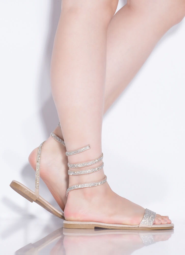 Slither Coiled Rhinestone Sandals NUDE