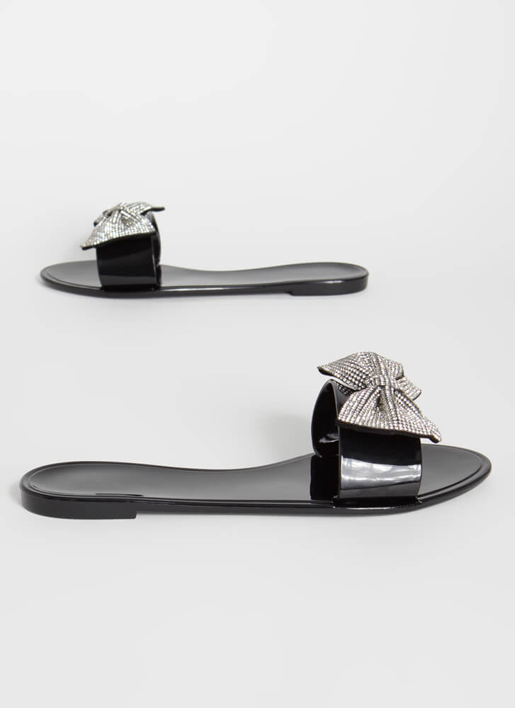 Look At Me Sparkly Bow Slide Sandals BLACK