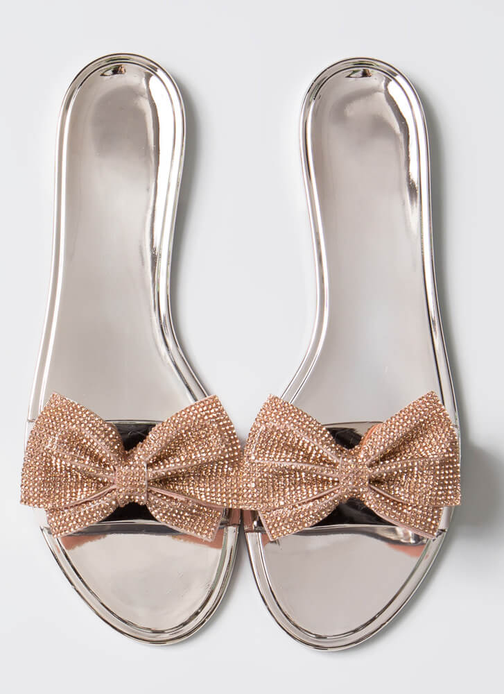 Look At Me Sparkly Bow Slide Sandals ROSEGOLD