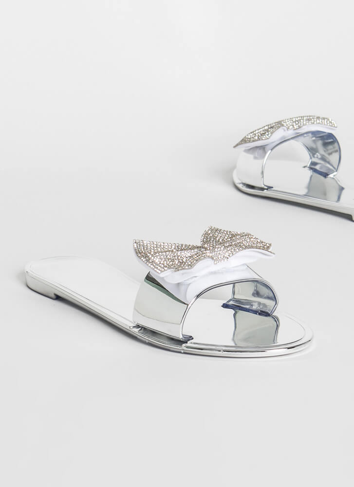 Look At Me Sparkly Bow Slide Sandals SILVER