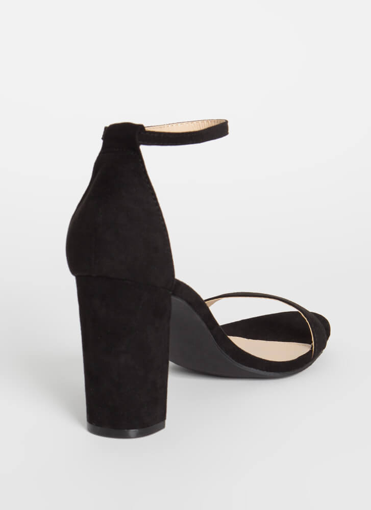 Keep Me Chunky Strappy Faux Suede Heels BLACK