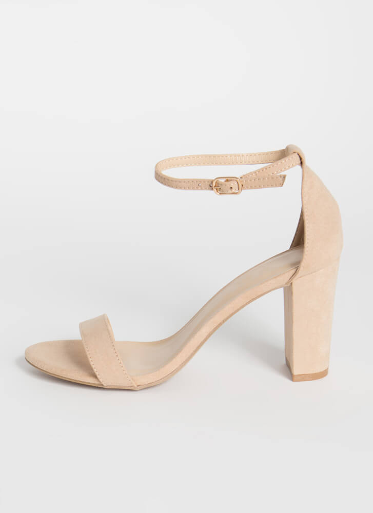 Keep Me Chunky Strappy Faux Suede Heels NATURAL