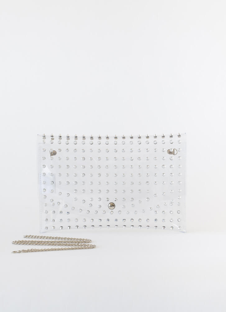 Stay Away Spiky Clear Studded Clutch CLEAR