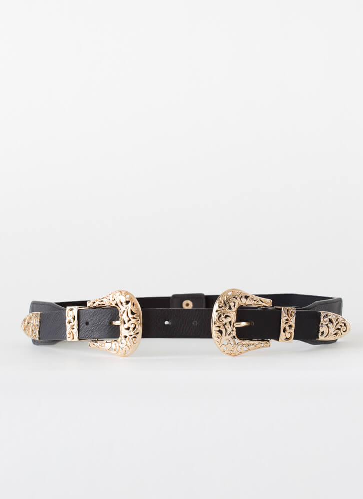 Give It A Swirl Two-Buckle Stretchy Belt BLACKGOLD