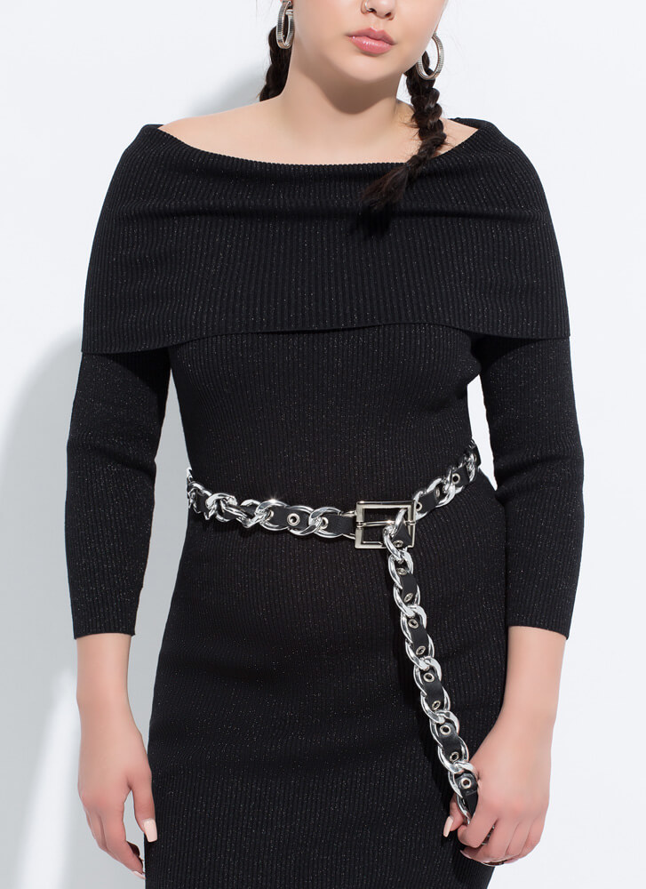 Make It Moto Faux Leather Chain Belt BLACKSILVER