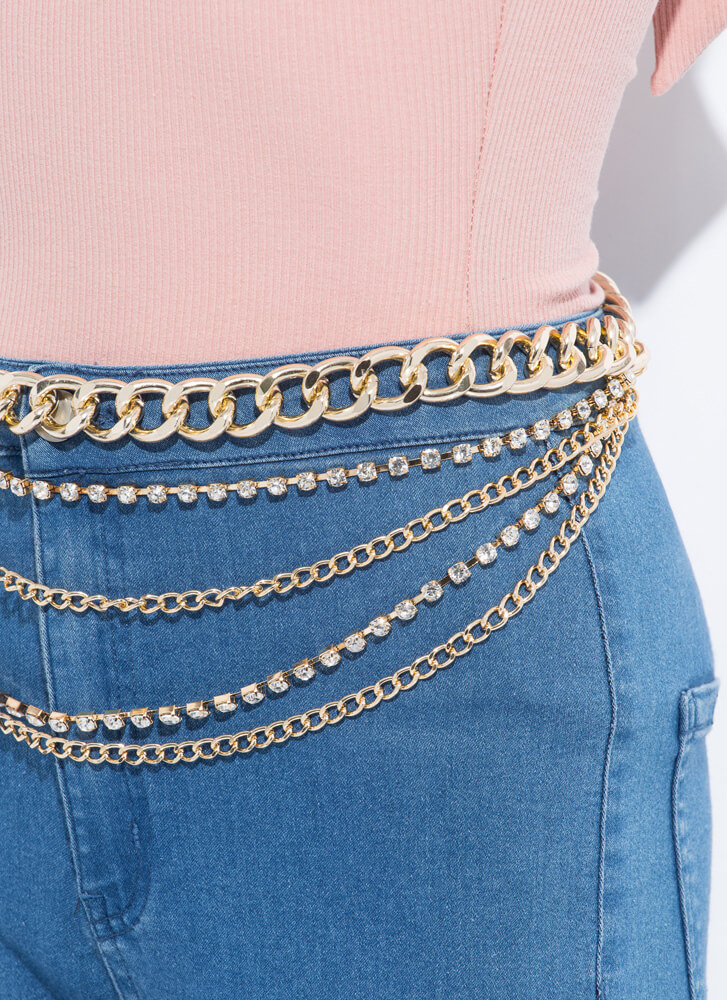 Hips Don't Lie Jeweled Draped Chain Belt GOLD
