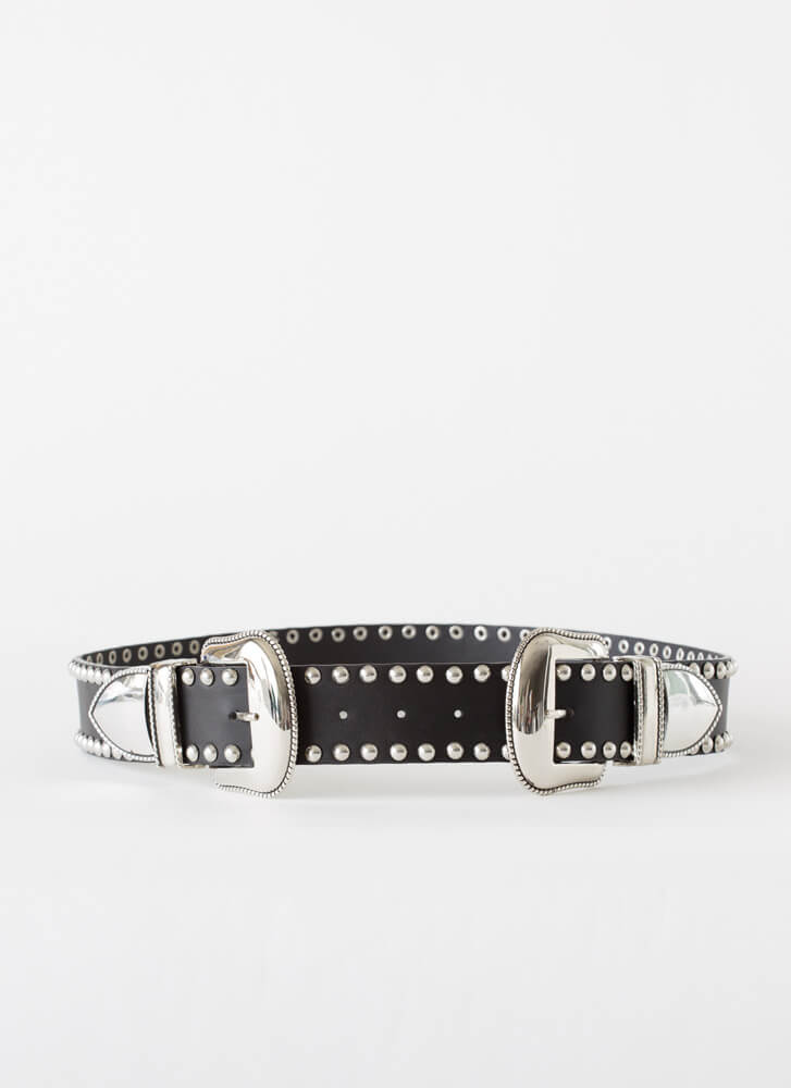 Moto Cowgirl Studded Double Buckle Belt BLACK