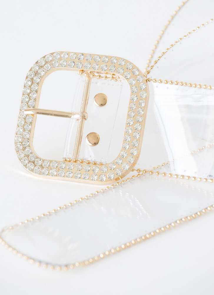 Shine And Sparkle Clear Jeweled Belt GOLD