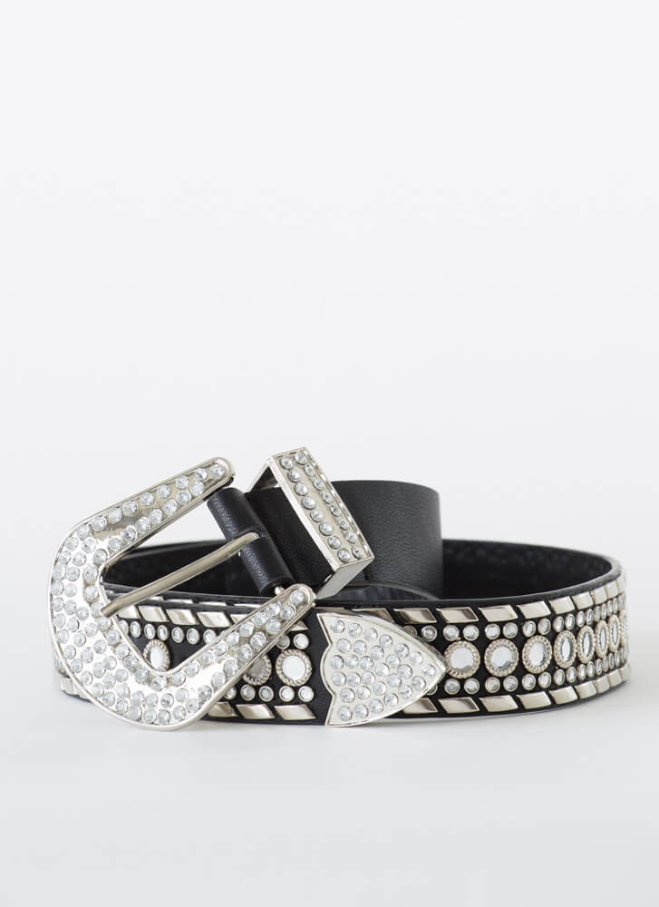 Mirror Me Studded Jeweled Belt BLACK