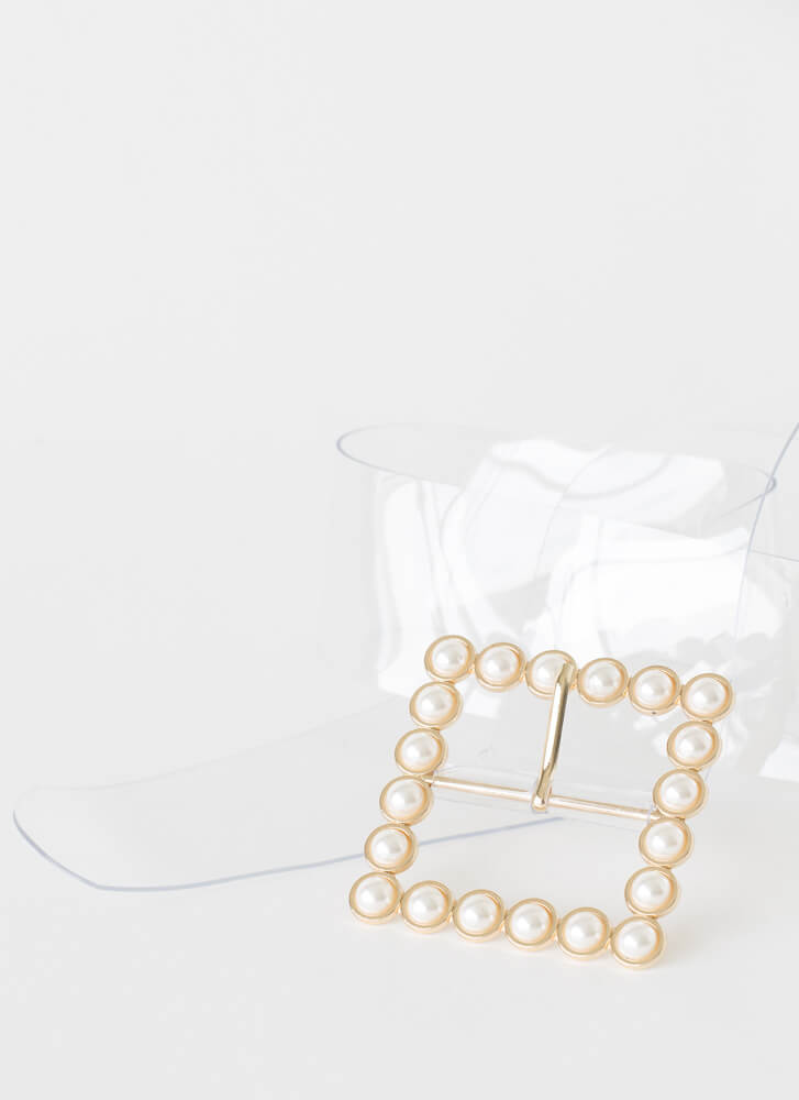 Clearly A Lady Wide Faux Pearl Belt CLEAR