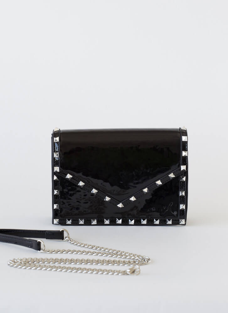Cutting Edge Studded Faux Patent Clutch BLACKSILVER