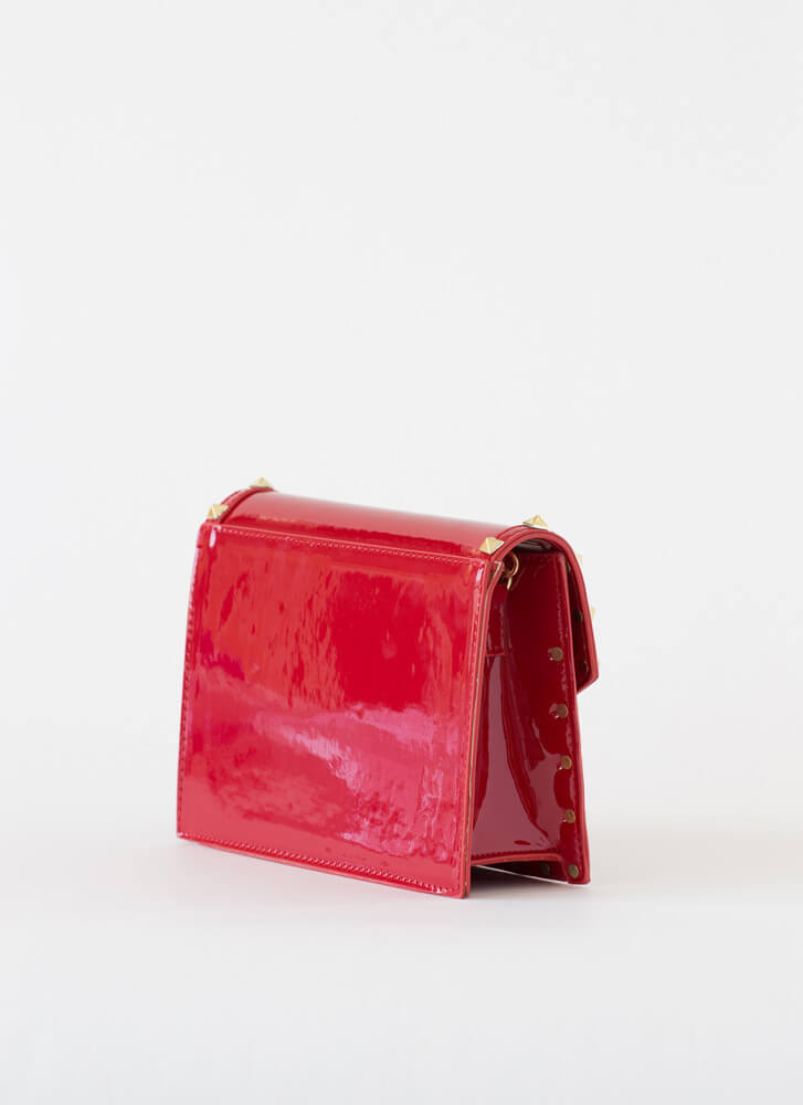 Cutting Edge Studded Faux Patent Clutch RED