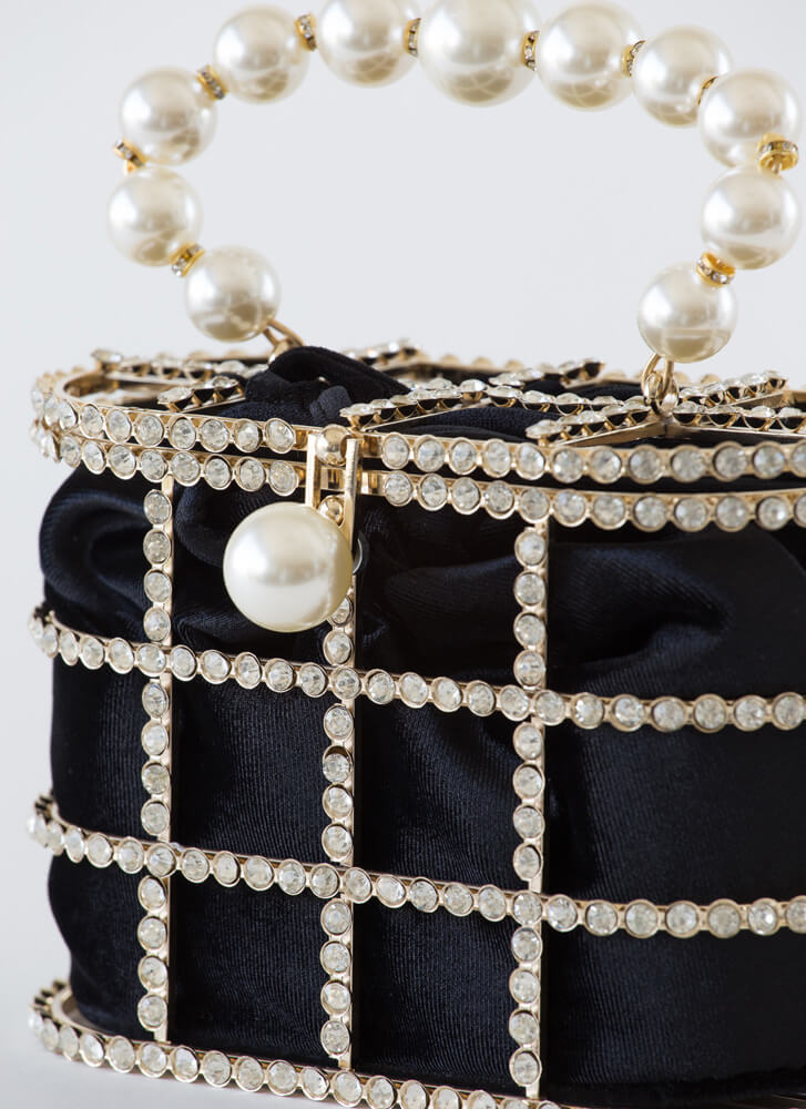 Audrey Caged Jeweled Faux Pearl Bag BLACK