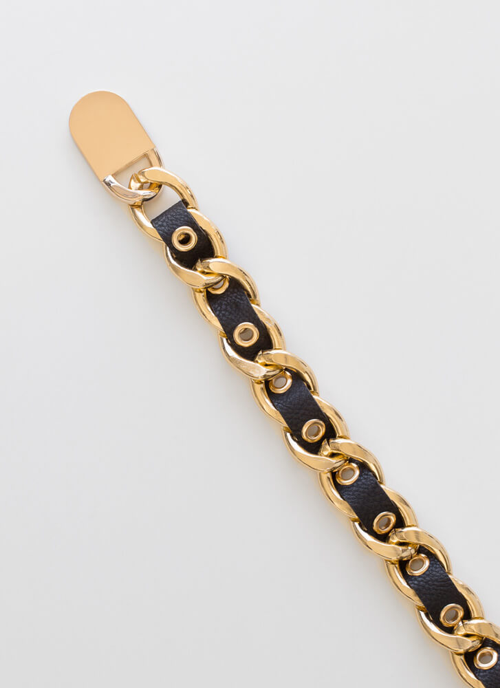 Lock Me Up Faux Leather Chain Belt BLACKGOLD