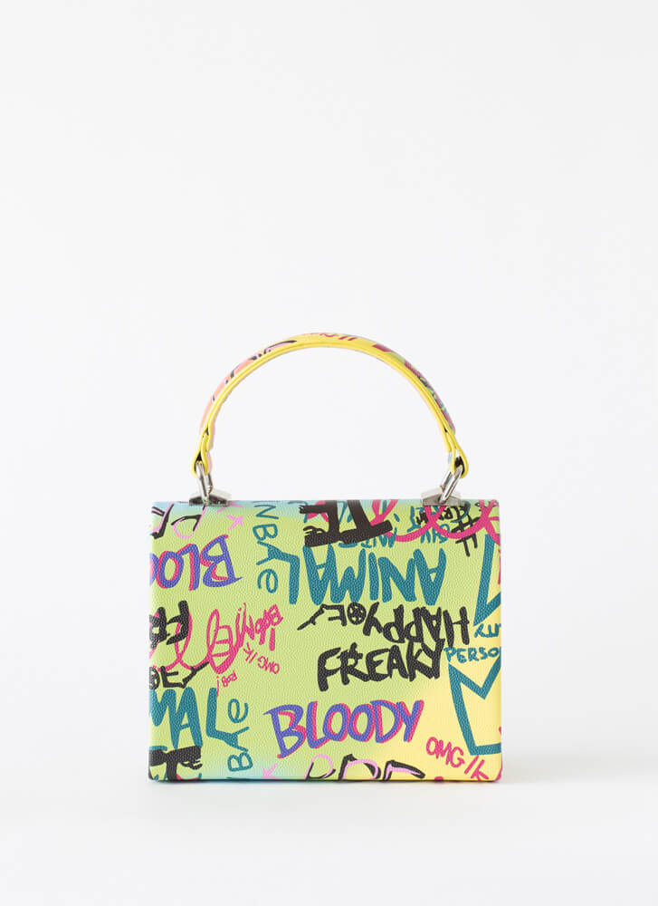 I Got Your Text Small Graffiti Handbag MULTI
