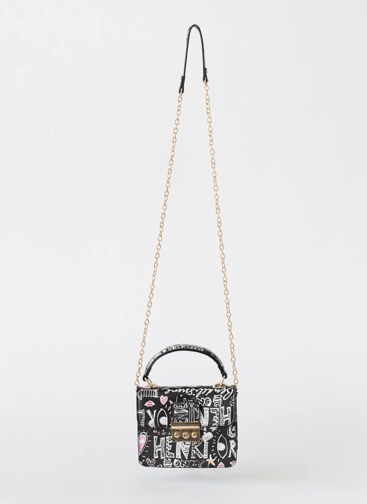 Text Me Small Graffiti Handbag BLACK