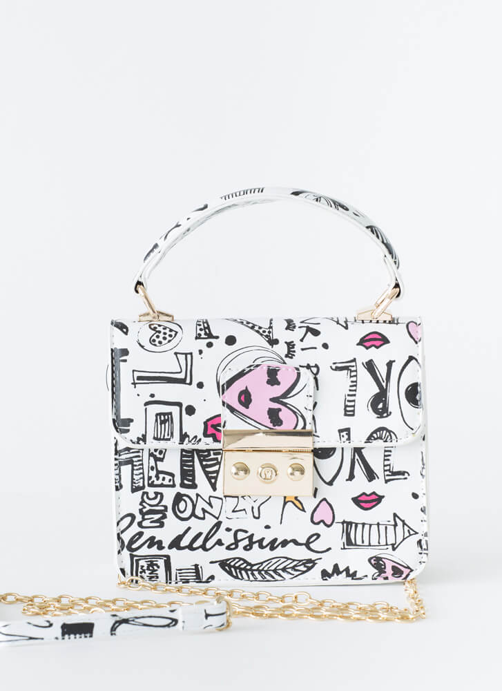 Text Me Small Graffiti Handbag WHITE