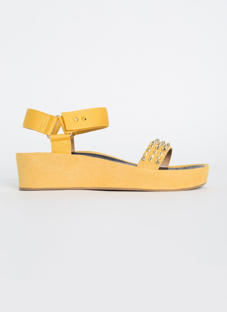 Seeing Spikes Studded Wedge Sandals YELLOW