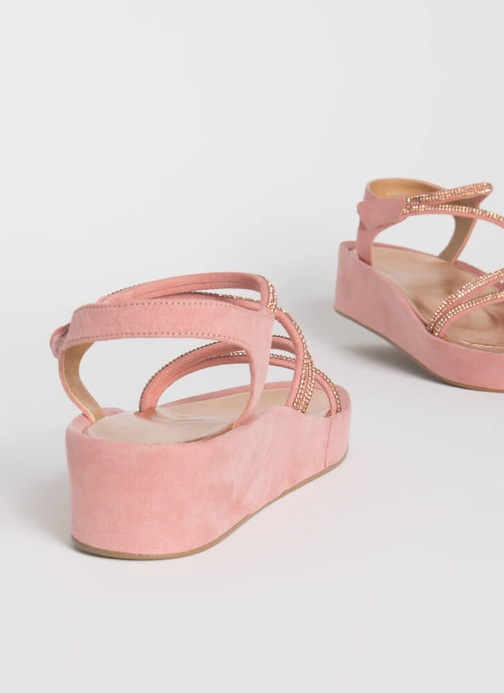 Strap Happy Jeweled Wedge Sandals BLUSH
