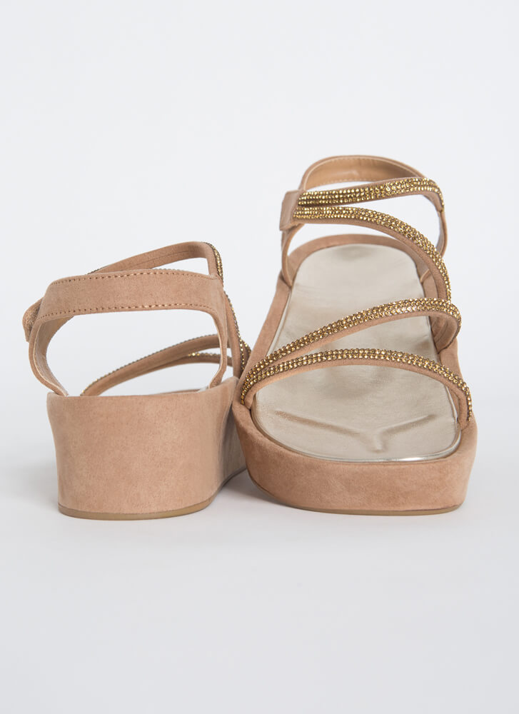 Strap Happy Jeweled Wedge Sandals TAUPE