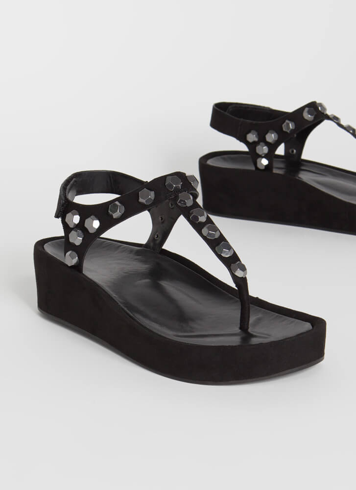 Hex On You Studded T-Strap Wedge Sandals BLACK