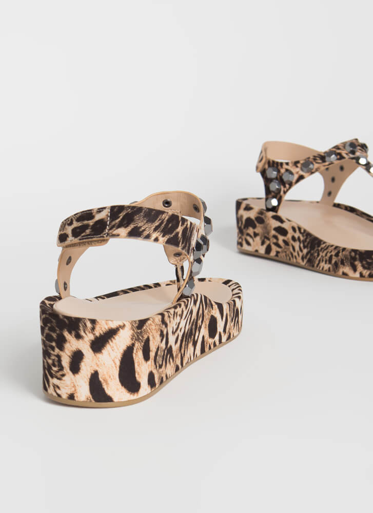 Hex On You Studded T-Strap Wedge Sandals LEOPARD