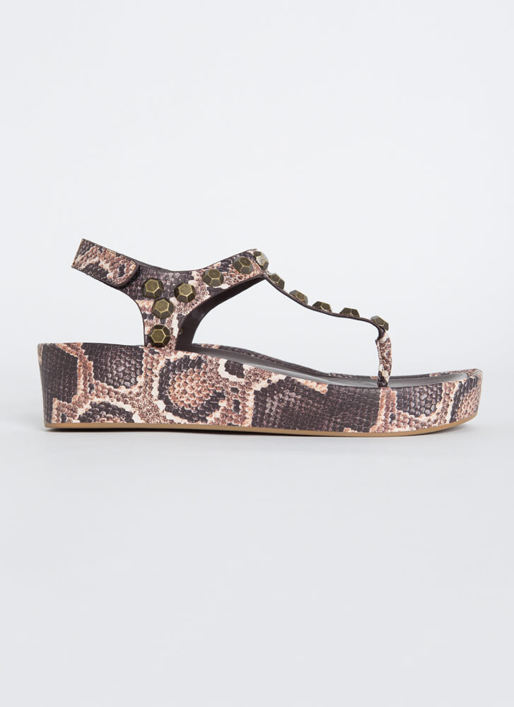 Hex On You Studded T-Strap Wedge Sandals SNAKE